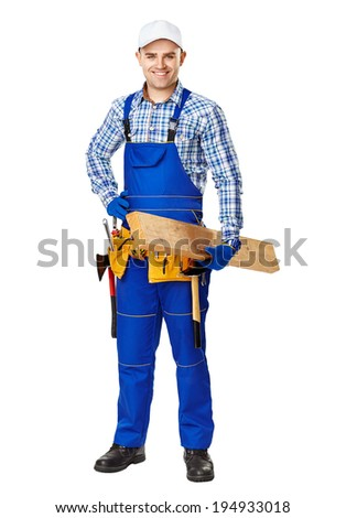 Full length portrait of young carpenter with wooden plank isolated on white background - stock photo