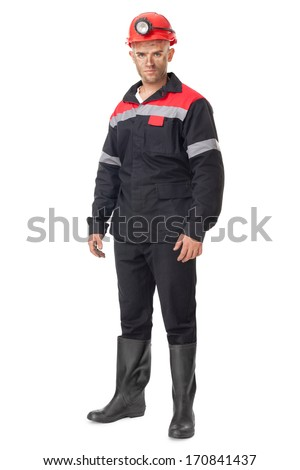 Full length portrait of young coal miner isolated on white background
