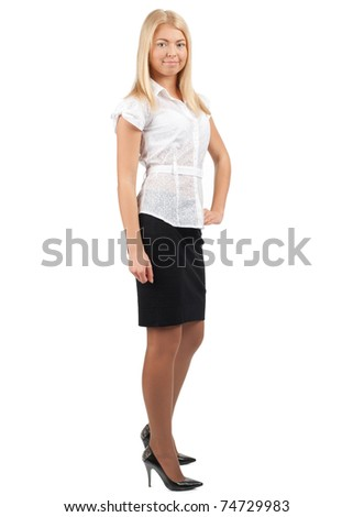 Full length portrait of young confident  businesswoman smiling, isolated on white background - stock photo