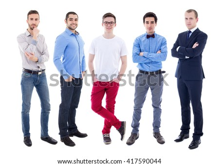 full length portrait of young handsome men isolated on white background - stock photo