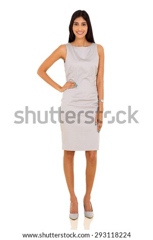 full length portrait of young indian business woman isolated on white - stock photo