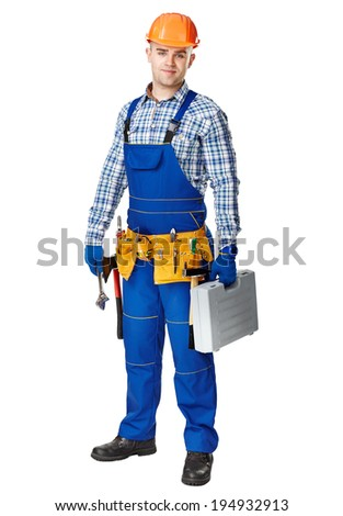 Full length portrait of young male construction worker wearing tool belt with toolbox isolated on white background