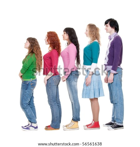 full length portrait of young man and women in turn against white background - stock photo