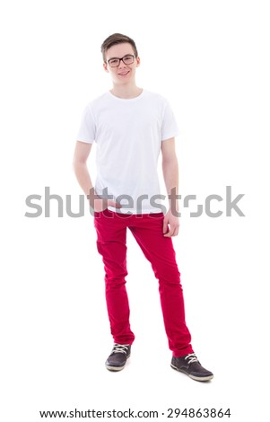 full length portrait of young man standing isolated on white background - stock photo