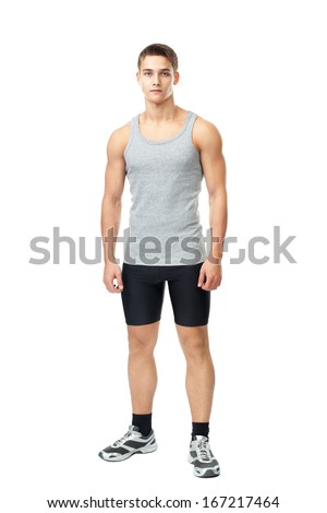 Full length portrait of young muscular athlete man isolated on white background
