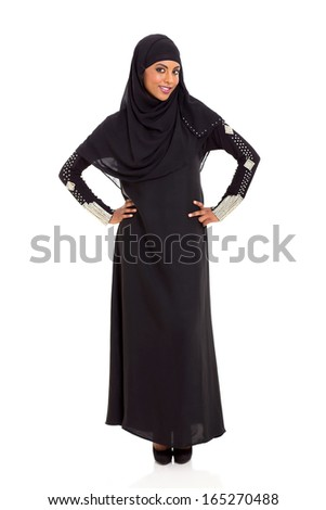 full length portrait of young muslim woman isolated on white - stock photo
