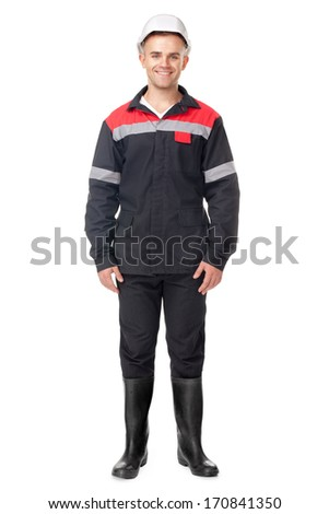 Full length portrait of young smiling worker isolated on white background - stock photo