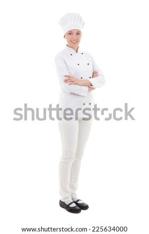 full length portrait of young woman chef  isolated on white background - stock photo