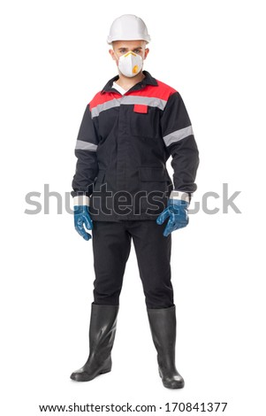Full length portrait of young worker wearing safety protective gear isolated on white background
