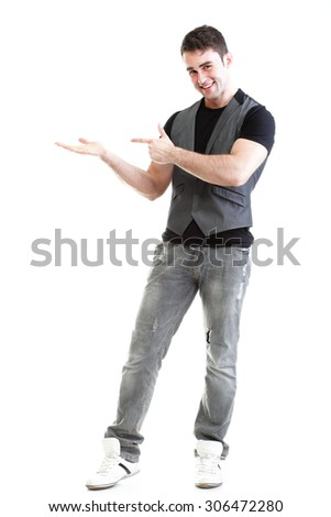Full length portrait school boy show demonstrate palm for product presentation isolated on white - stock photo