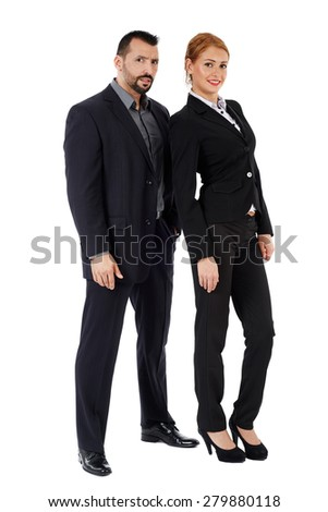 Full length portrait young business partners isolated on white background. Teamwork concept - stock photo