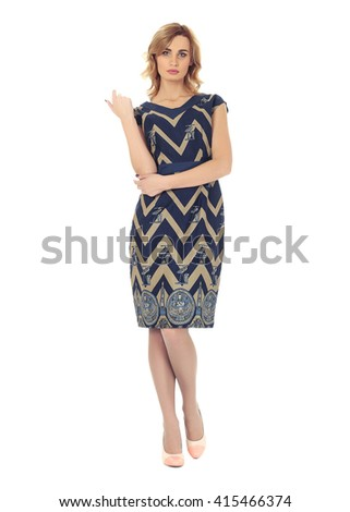 Full-length portrait young woman in dress isolated