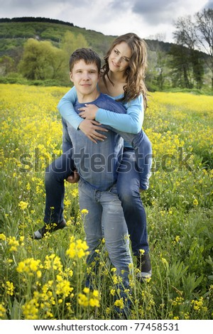 full length portraite of Young couple in love