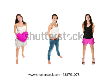 Full length portraits of an eighteen year old girl wearing three different outfits, isolated on white studio background - stock photo