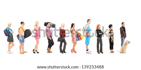 Full length portraits of different people waiting in a line, isolated on white background - stock photo