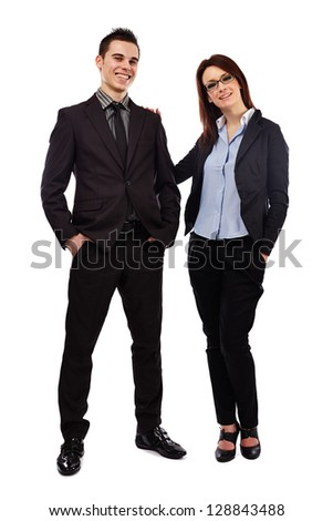 Full length pose of happy young business partners isolated on white background. Teamwork concept - stock photo