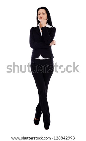 Full length pose of pensive businesswoman, looking at camera, isolated on white background