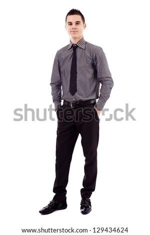 Full length pose of successful young businessman, isolated on white background - stock photo