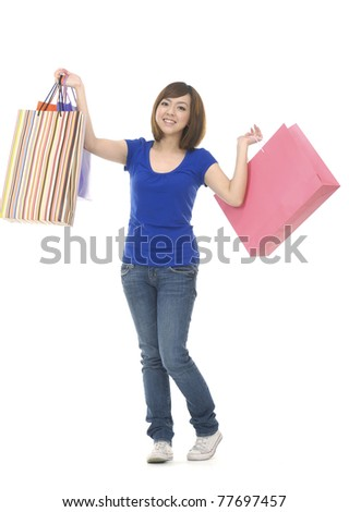 full-length Pretty woman and bags on white background
