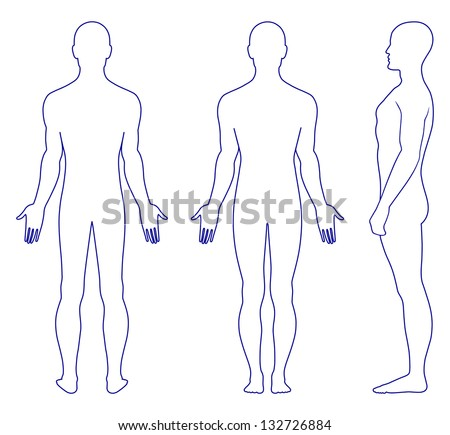 Full length profile, front, back view of a standing naked man. You can use this image for fashion design and etc. - stock photo