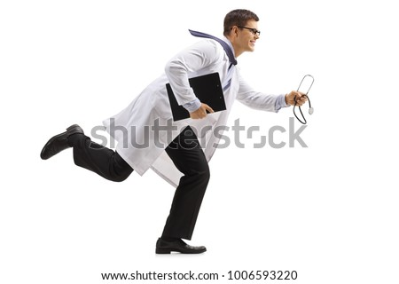 Full length profile shot of a doctor with a clipboard and a stethoscope running isolated on white background