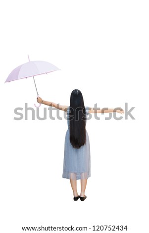 Full length, Rear view of young girl holding an umbrella, Isolated over white with clipping path - stock photo