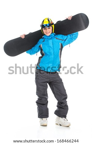 Full length shoot of young female snowboarder. Posing on camera isolated over white background