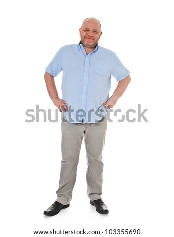 Full length shot of a adult man. All on white background. - stock photo
