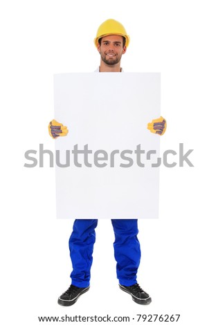 Full length shot of a construction worker holding blank sign. All on white background. - stock photo