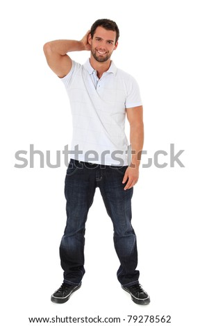 Full length shot of an attractive young man. All on white background. - stock photo
