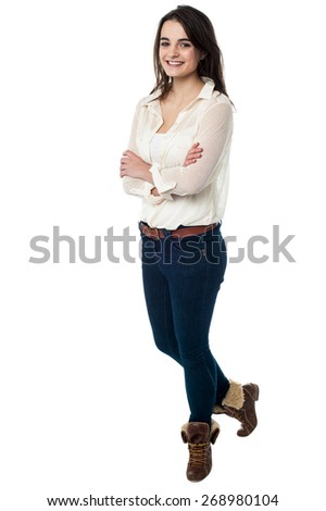 Full length shot of an confident smiling girl - stock photo
