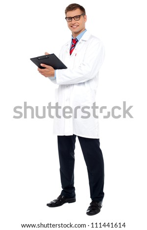 Full length shot of physician posing with clipboard isolated on white background