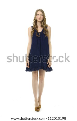Full length shot of sexy woman in evening dress, isolated - stock photo