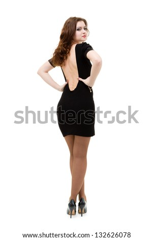 Full length shot of sexy woman in little dress, isolated on white background - stock photo