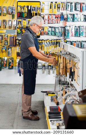 Full length side view of senior salesman working in hardware store - stock photo