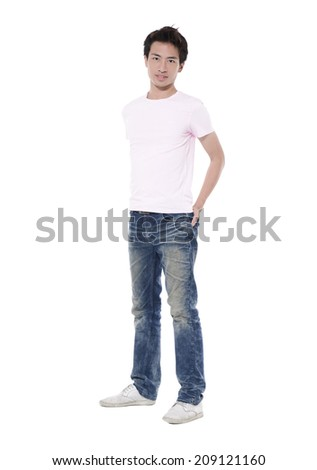 Full length smiley guy in white t-shirt and jeans. isolated on white - stock photo