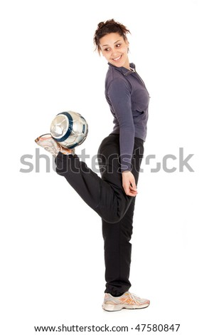 full length soccer woman playing with ball isolated on white