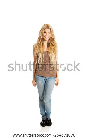 Full length student woman standing. - stock photo