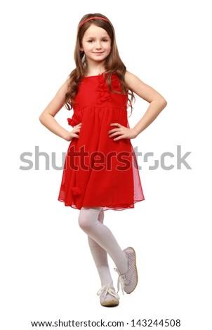 Full length studio photo  girl wearing red summer dress standing on white background - stock photo