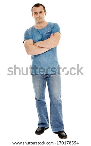 Full length studio shot of a casual dressed caucasian man, isolated over white background - stock photo
