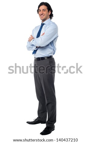 Full length studio shot of a confident businessman - stock photo