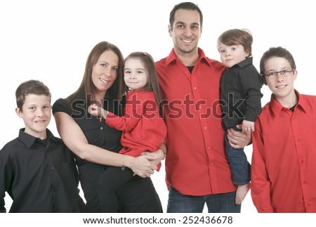 Full Length Studio Shot of a family - stock photo