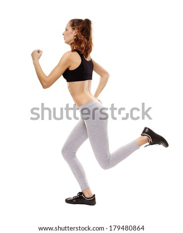 Full length studio shot of an athletic young woman running isolated over white background - stock photo