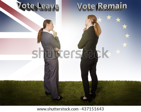 Full length studio shot taken from behind of two business models, standing on grass, looking thoughtful about staying in the EU