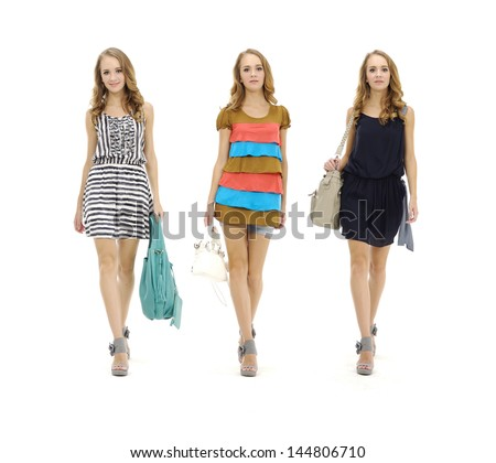 Full length three portrait of casual young woman posing with bag over white background  - stock photo
