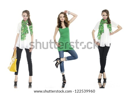 Full length three young fashion with scarf and bag posing - stock photo
