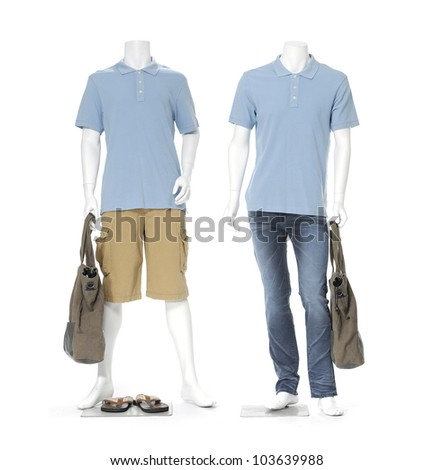 full length two male mannequin with bag and shoe