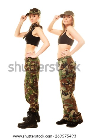 Full length two women in military clothes army girls isolated on white