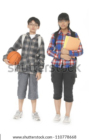 Full length Two young asian students isolated on white background - stock photo