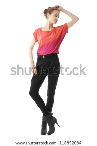 full length view of casual red dressed blonde girl posing - stock photo
